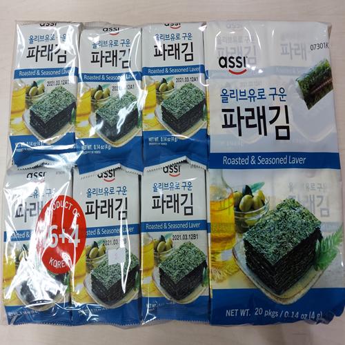 Roasted Kim with Olive Oil(Seasoned Seaweed) 4gx20pcs